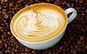 Picture pattern, figure, mug, cappuccino, coffee beans, saucer, foam