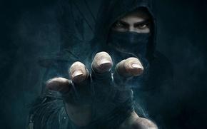 Picture look, fog, hand, logo, hood, arrows, thief, Eidos Interactive, Thief, Garrett, Eidos Montreal, (2014) Garrett