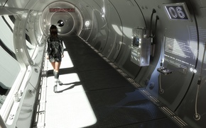Picture girl, future, fiction, ship, corridor, fantasy, space