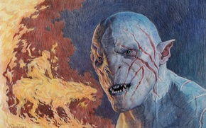 Picture Figure, The hobbit, Azog, The misty mountains, The Defiler, The leader of the orcs