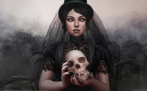 Picture girl, the darkness, black, Skull