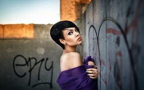 Wallpaper girl, makeup, piercing, hairstyle, Alexander Veselov, Grosh