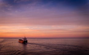 Picture sea, ocean, seascape, morning, sunrise, dawn, ship, horizon, harbor, sailing