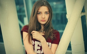 Picture girl, eyes, teen, shirt, kind