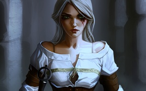 Picture girl, art, Witcher, The Witcher 3: Wild Hunt, Ciri