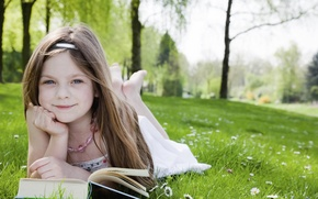 Wallpaper Park, garden, child, trees, beautiful, grass, book, happiness, happy, sweetheart, lovely, blonde, reading, sweet girl, ...