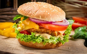 Picture leaves, cheese, bow, pepper, vegetables, tomatoes, hamburger, Patty, sandwich, roll, sesame, fast food, salad