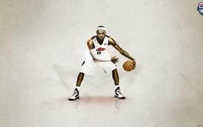 Picture basketball, NBA, LeBron James, Miami Heat, king, dribbling
