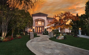 Picture grass, trees, flowers, night, lights, house, lawn, lights, CA, track, USA, mansion, San Juan Capistrano
