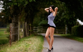 Picture road, girl, legs, Standing, Guenter Stoehr