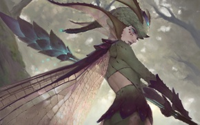 Wallpaper forest, girl, wings, fairy, fantasy, rod