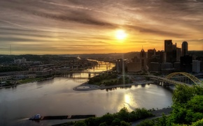 Picture landscape, river, dawn, hdr, USA, PA, Pittsburgh