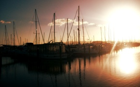 Picture water, the sun, clouds, reflection, Yachts
