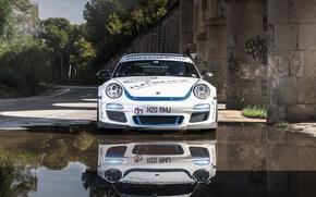 Picture reflection, 997, Porsche, before, white, sports car, Porsche, Carrera S, EurocupGT, 3.8