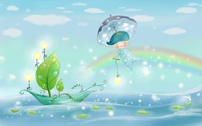 Picture sea, the sky, leaves, water, light, nature, bubbles, rain, boat, figure, rainbow, umbrella, boy, lights, …
