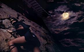 Picture girl, night, castle, the moon, legs, ninja