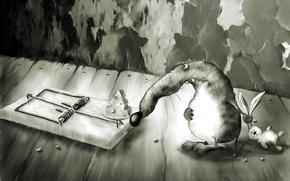 Wallpaper mouse, mousetrap, grey