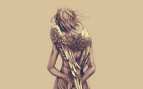 Picture figure, wings, Sepia