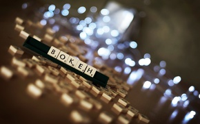 Picture light, letters, cubes, the game, figures, on the table, bokeh, randomly, glare., entertainment