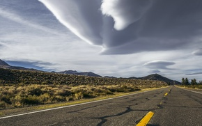 Picture california, storm, road, sky, desert