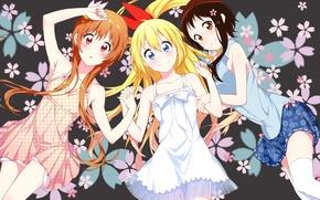 Picture anime, art, nisekoi, Chito, Kirisaku, Marika Tachibana, Kosaki Onodera