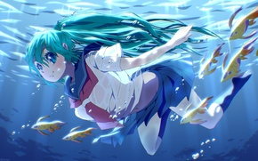 Picture girl, fish, smile, bubbles, anime, art, form, schoolgirl, vocaloid, hatsune miku, under water