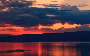 Picture twilight, sunset, clouds, lake, hills, dusk, boat, silhouettes