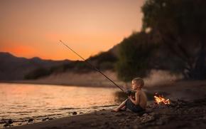 Wallpaper boy, river, fishing