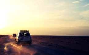 Picture sand, machine, the sky, the sun, desert, jeep, journey, the sun's rays, infinity