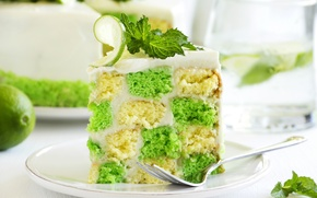 Picture plate, cake, mint, chess