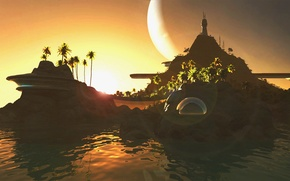 Picture water, palm trees, shore, planet, Home of the luxurious
