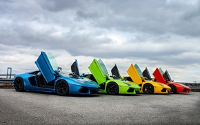 Picture the sky, clouds, color, door, supercar