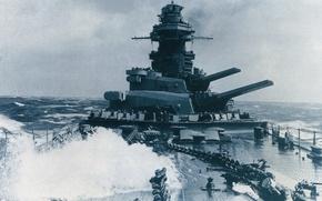Wallpaper guns, sea, war, retro, France, battleship, Richelieu