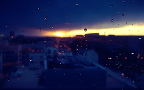Picture glass, drops, macro, the city