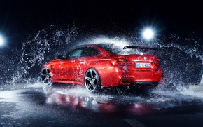 Picture BMW, German, Red, Car, Water, Rear, AC-Schnitzer
