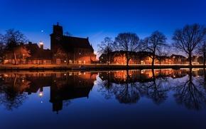 Picture trees, lights, reflection, home, Amsterdam, channel, Netherlands, twilight, Blus sky