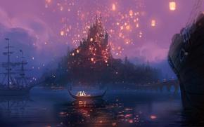 Picture night, bridge, lights, river, castle, boat, figure, cartoon, ships, art, lights, Rapunzel, Tangled, Flynn, Rapunzel, …