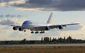 Wallpaper A380, Airbus, Aviatoin, Airfrance, Landing