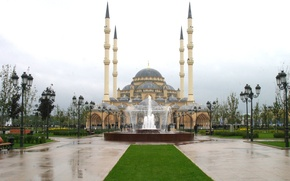 Picture the city, fountain, mosque, Chechnya, Terrible, Terrible, 95регион, heart of Chechnya