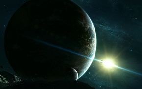 Picture space, stars, planet, asteroids, space, satellites, stars, planets, univers