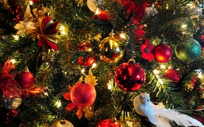 Picture holiday, butterfly, star, tree, new year, ball, Christmas, garland, dove