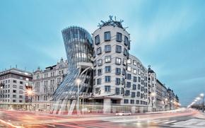 Picture design, Prague, architecture, cityscape, Czech Republic, The Dancing House