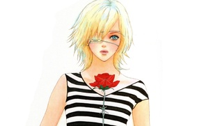 Picture blonde, white background, red rose, barbed wire, eye patch, bangs, Omae ga Sequence o Kowashitai …