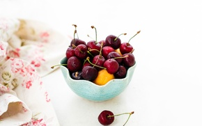 Picture berries, napkin, ramekin, cherry, Julia Khusainova, apricots, cherry