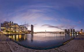 Wallpaper street, water, promenade, the evening, the city