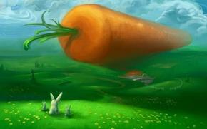 Wallpaper green, hills, figure, carrot, rabbits