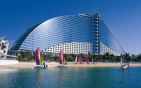 Picture BEACH, DESIGN, WINDOWS, FORM, SAILS, The BUILDING, COAST, RESORT, TOURISM, CATAMARANS, SURFERS