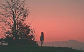 Picture tree, dusk, mountain, hill, twilight, sunset, girl