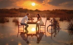 Picture girl, sunset, flowers, bike, river, table, romance, guy, river, woman, sunset, man, lovers, feeling