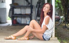 Wallpaper model, legs, t-shirt, sandals, girl, Roisin Neville, skirt